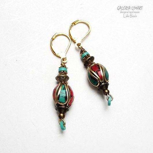 Original Tibetan beads used in hand made earrings // Oryginalne tybetańskie kolczyki hand made
