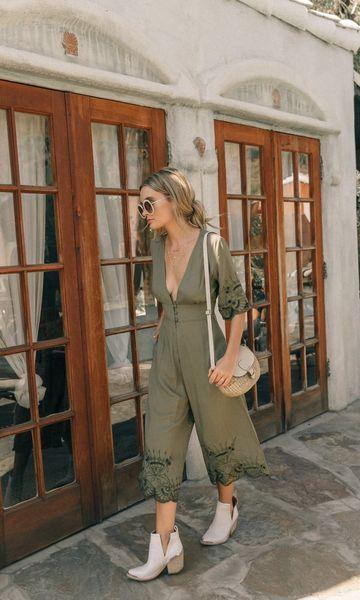 Look Macacão Verde + Bota | Work/College | Look, Look macaquinho e Macacão verde