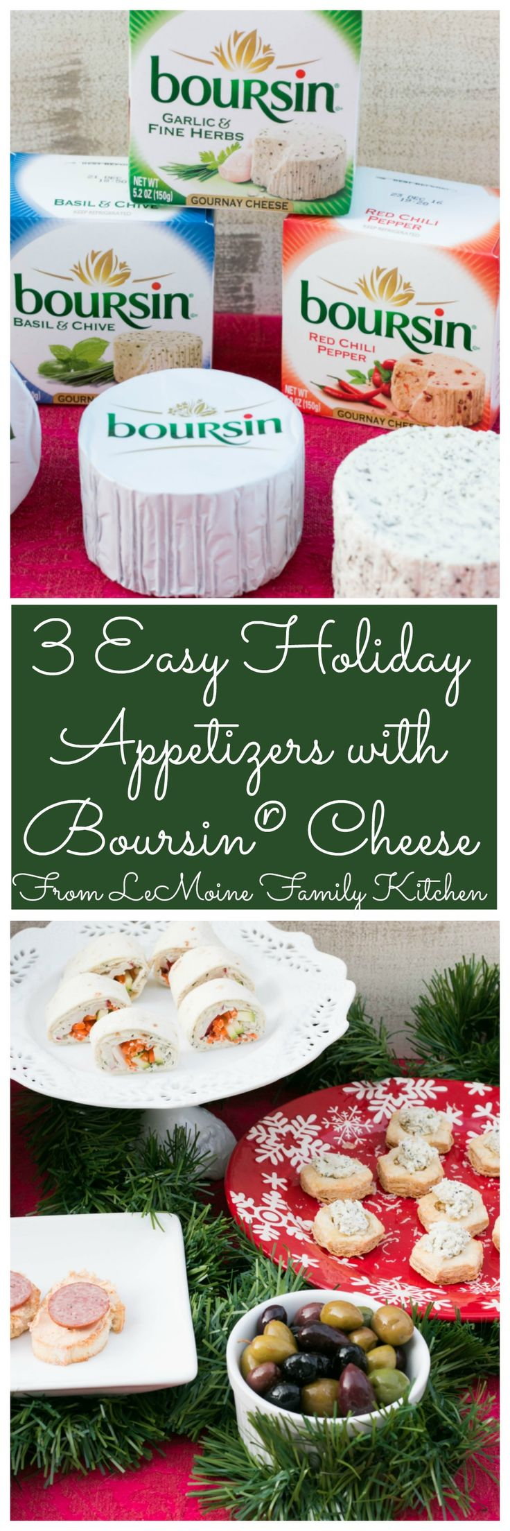 3 Easy Holiday Appetizers with Boursin® Cheese. Wow guests with these easy to make appetizers this holiday season! Crostini with Boursin® Red Chili Pepper and summer sausage, Boursin® Garlic