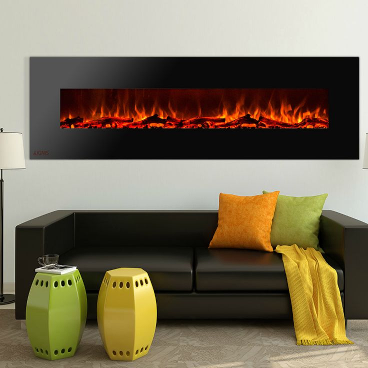 Ignis Royal - Wall Mount Electric Fireplace with Logs - 95 inch