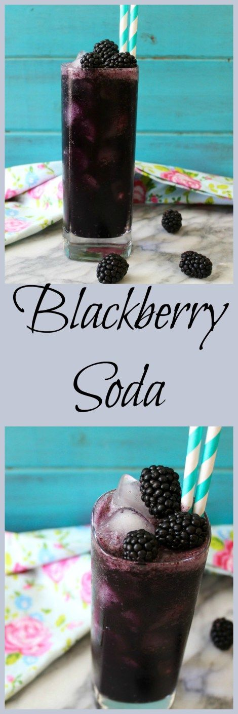Blackberry Soda - A simple soda made with fresh berries, a little bit of sugar and club soda. The perfect refreshing summertime drink.