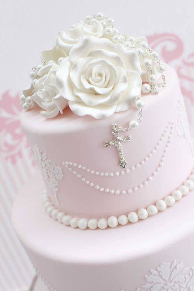 Baptism Cakes for Girls | Damask Cross Baptism Cake| Damask Cross Baptism Cake----would love to have this for sweet peas christening. Description from pinterest.com. I searched for this on bing.com/images