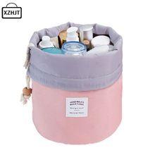 XZHJT Moda En Forma de Barril Viajes Bolso Cosmético compone el Bolso de Lazo Elegante Kit de Lavado de Tambor Bolsas de Maquillaje Bolsa de Almacenamiento Organizador(China (Mainland))
