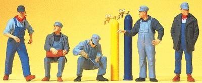 Preiser Kg US Railroad Workers w/Welding Equipment (5) -- Model Railroad Figures -- HO Scale -- #10535
