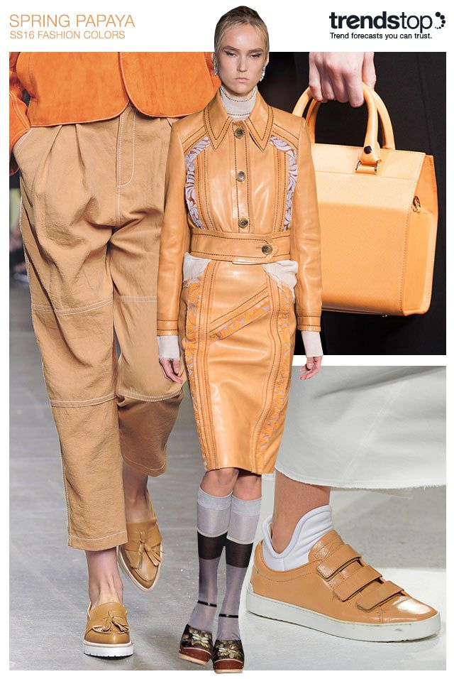 A key shade for S/S 2016, Spring Papaya lends an easygoing chic to women's daywear. Lightweight wovens texture casual loose-fit pants at Karen Walker, while leather works well in shaping boxy Anteprima bags and Rag & Bone sneakers. Prada goes one step further with a coordinated leather ensemble for a modern summer statement. Across both apparel and accessories, white accents can be used for a clean contrast look.