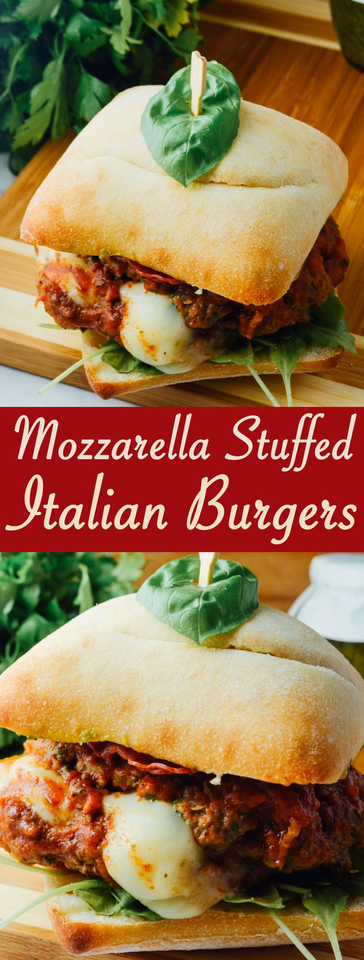 These Mozzarella Stuffed Italian Burgers are a flavorful and easy weeknight meal!