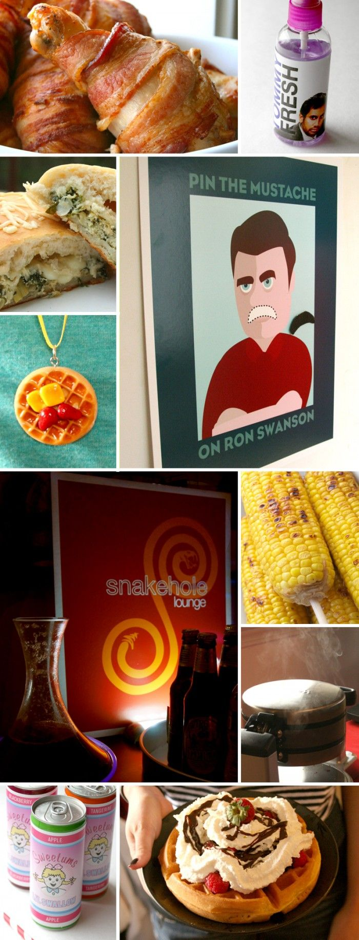 So many great ideas for parks and rec themed food party, including waffles, swee…