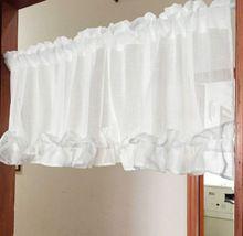 Branco rendas cortina de cozinha plissado cortinas transparentes cortinas de Pastrol Volie Sheer cortina tela da janela(China (Mainland))