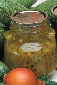 Bernardin cucumber relish - made a little more than 8 1/2 pint (250mL) jars. Quick with the food processor. Made in '14. REALLY GOOD.