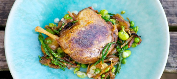 Confit Duck Legs with Potato, Samphire and Broad Bean Salad and Warm Bacon Dressing
