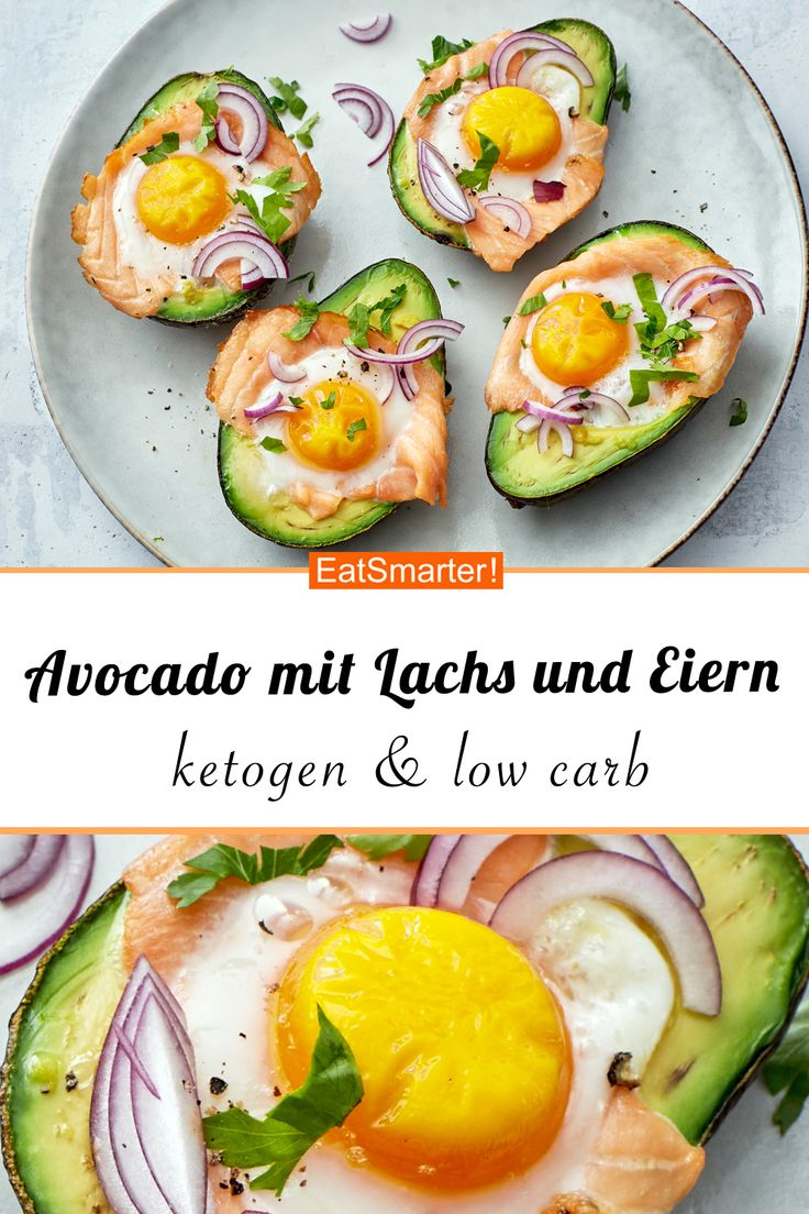 Avocado mit Lachs und Eiern   – Ketogene Diät Rezepte
