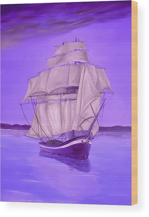 Wood Print,  marine,nautical,sailboat,ocean,scene,sea,water,calm,voyage,purple,lavender,decor,decorative,beautiful,image,fine,oil,painting,contemporary,scenic,modern,virtual,deviant,wall,art,awesome,cool,artistic,artwork,for,sale,home,office,decor,decoration,decorative,items,ideas