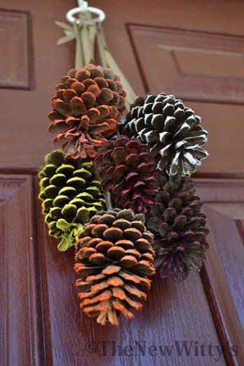 Painted Pine Cone Hanging Decoration   21 DIY Fall Door Decorations, see more at http://diyready.com/21-diy-fall-door-decorations-wreaths-door-hangers-more