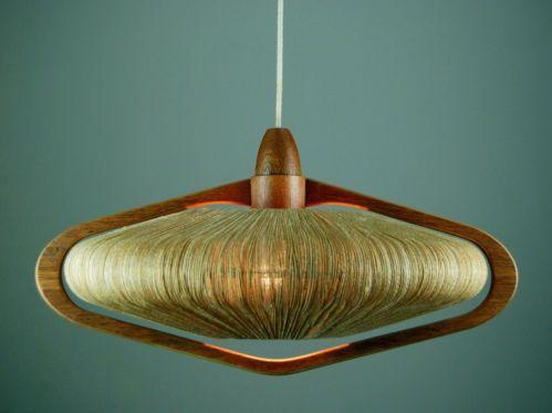 Danish 1960s Teak Rope Ceiling Lamp