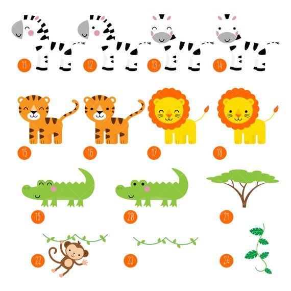 Safari Zoo Animals Clipart Zoo Keeper Jungle Animals Etsy Clip Art Art Of Zoo Animals Black And White