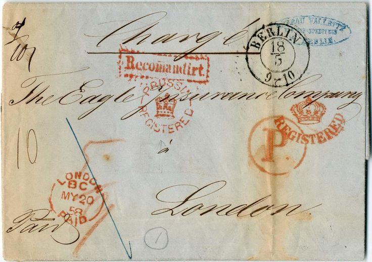 """Briefmarken - """"BERLIN"""", K2 (Hofpostamt KPHW 12a) auf Charge-Brief 1858 nach London, roter Ra1 """"RECOMMANDIRT"""" (Feuser 517, 100.-), Rund"""