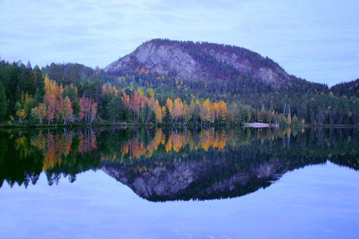 Autumn colour on lake Pessarijarvi near Konttainen hill in Ruka-Kuusamo area, Finnish Lapland.