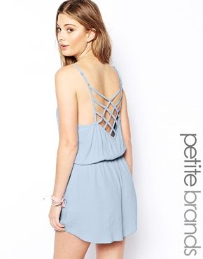 Looks cool and cute Glamorous Petite Playsuit With Cut Out Back Detail