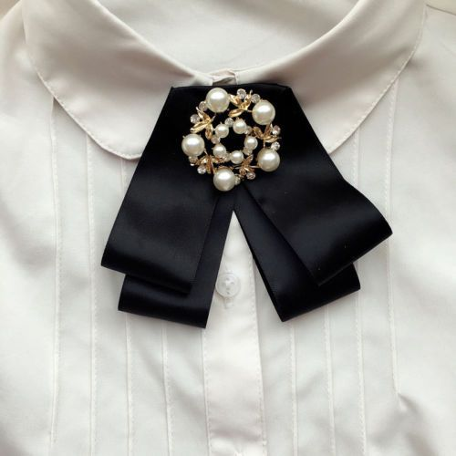 Corbata de hoja de oro negro de la cinta Mujer Accesorios Arco Collar Moda Broche Pin