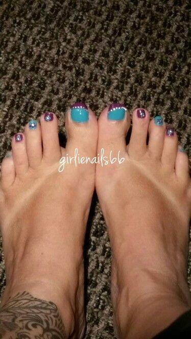 Blue and purple toe nails