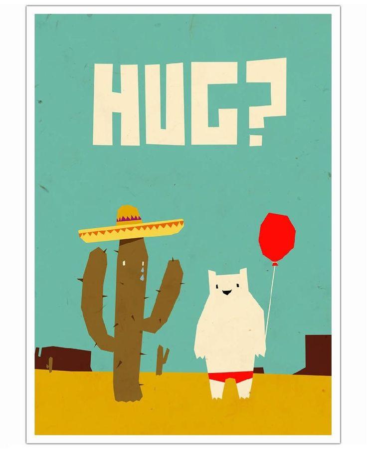 Hug as art print by yetiland framed