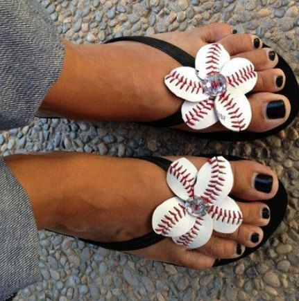 Baseball/ softball flower Flip Flops by MajorLeagueDesigns on Etsy, $21.00