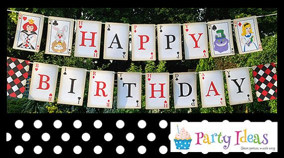 Mad Hatters Tea Party Happy Birthday Bunting by PartyIdeasUK, £4.99