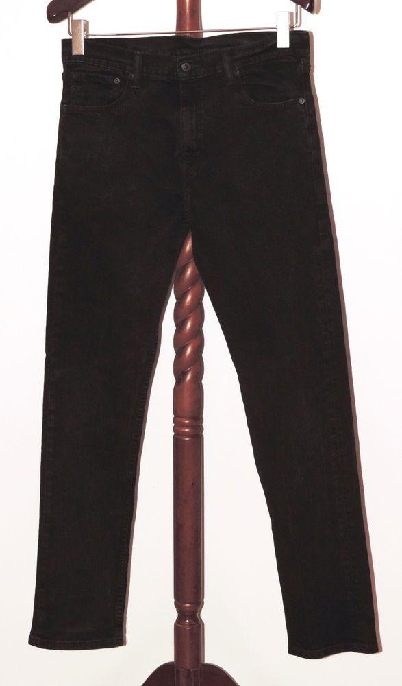 Levis 508 Straight Leg 33 x 34 Black Stretch Denim Jeans Levi's #Levis #ClassicStraightLeg