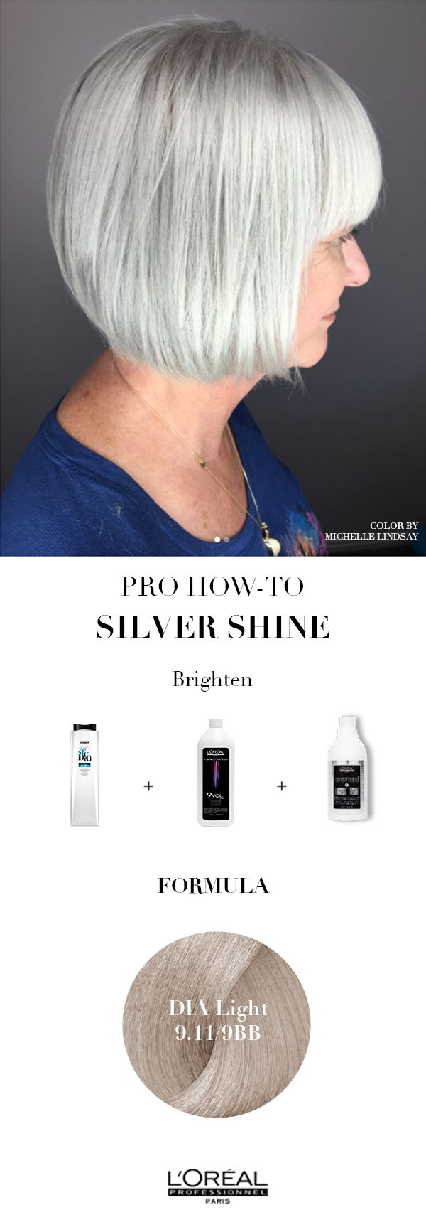 Silver hair color and silver hair short is a great look for people of all ages.  Learn how to achieve this look with L'Oreal Professionnel