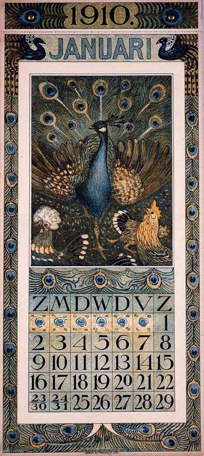 Peacock calendar 1910; by Theo van Hoytema (1863-1917).