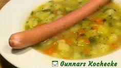 Kartoffel-Lauch-Suppe mit Bockwurst
