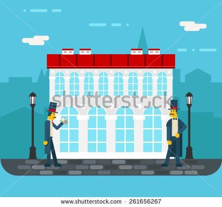Meeting gentlemen on old city street icon on stylish background flat design vector illustration
