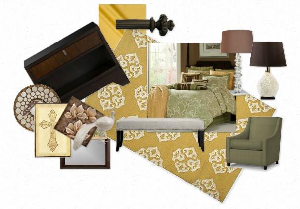 green & gold master bedroom plan: