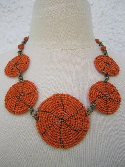 Five Plate Small Neckline Necklace Orange