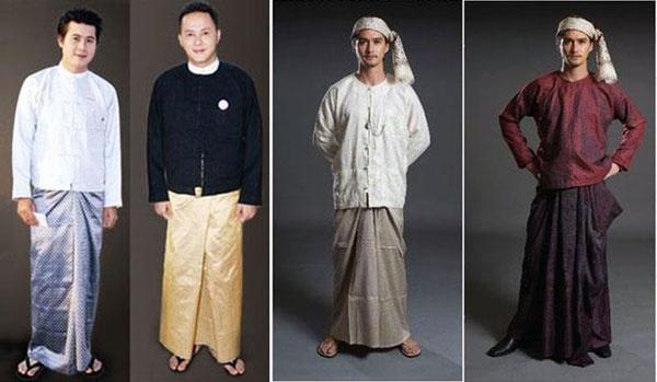 ชุดประจำชาติของชาวพม่าเรียกว่า ลองยี (Longyi) เป็นผ้าโสร่งที่นุ่งทั้งผู้ชายและผู้หญิง ในวาระพิเศษต่าง ๆ ผู้ชายจะใส่เสื้อเชิ้ตคอปกจีนแมนดารินและเสื้อคลุมไม่มีปก บางครั้งจะใส่ผ้าโพกศีรษะที่เรียกว่า กอง บอง (Guang Baung) ด้วย