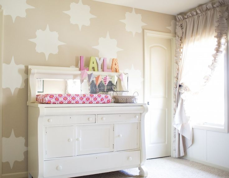 An accent wall doesn't have to pop! We love this subtle, neutral Moroccan design on the wall. #nursery: Buffets, Raspberry Linen, Nurseries, Nursery Ideas, Baby Girl, Linens, Kids, Linen Room