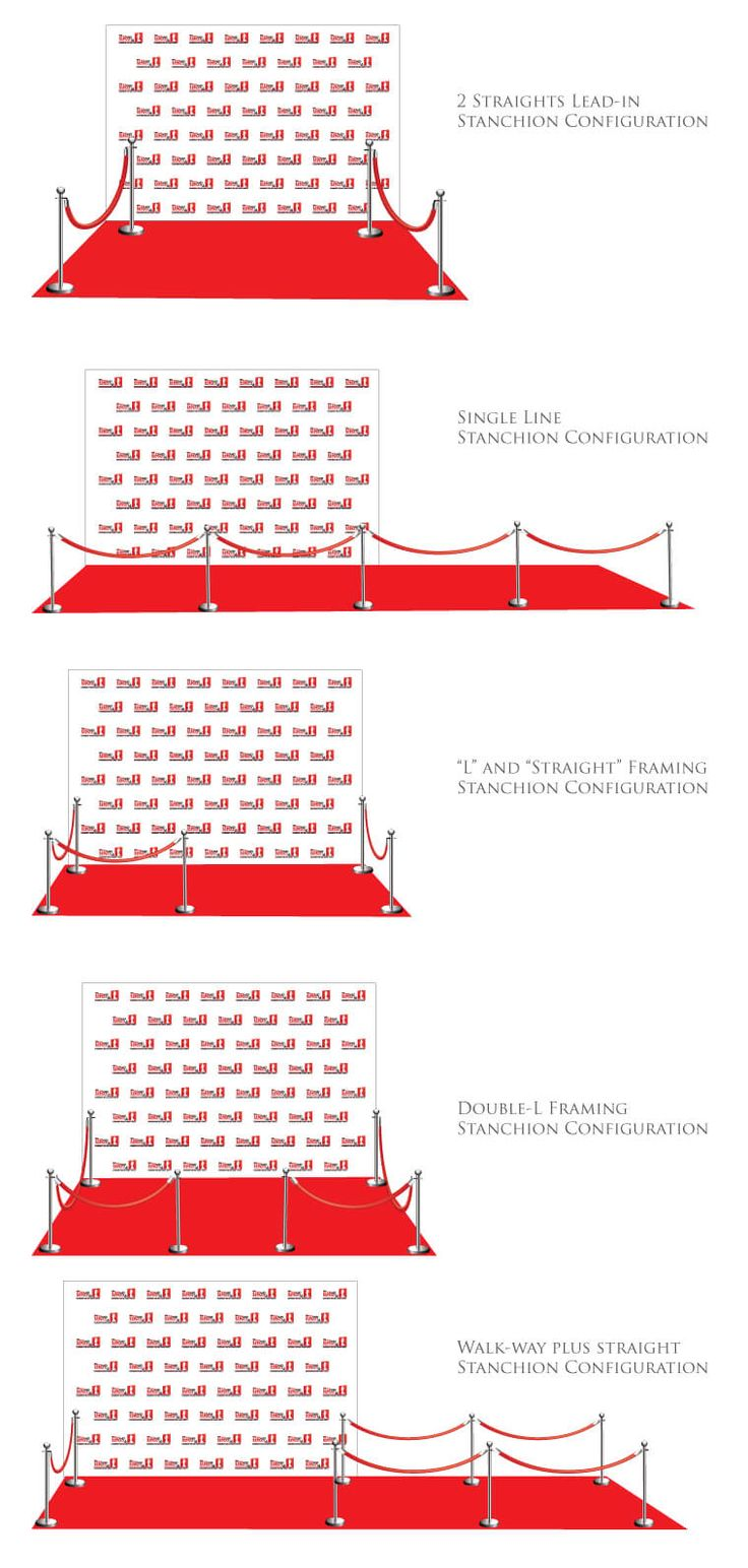 Stanchion Configurations Where do you place your stanchions and velvet rope? Consider these factors: Size of the backdrop How do you want to direct traffic into the red carpet area? How do you want...