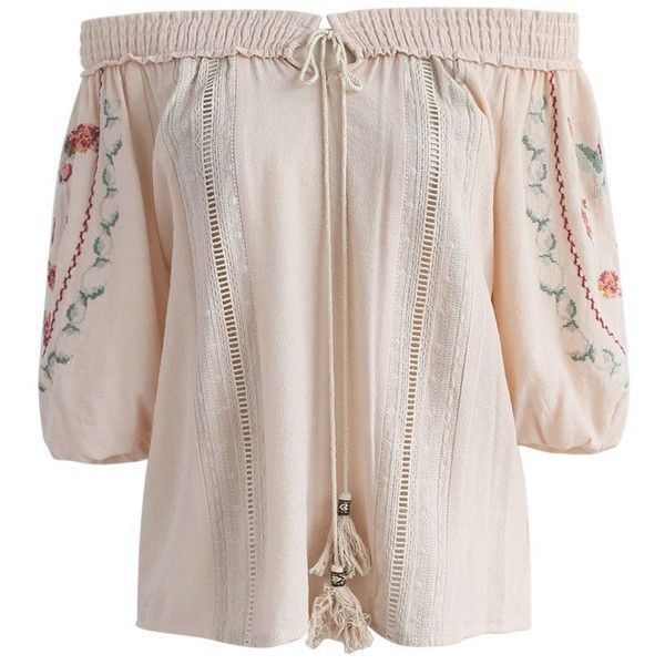Face the music: This off-shoulder top in a creamy beige with rose embroidery is exactly what your spring wardrobe is missing.?