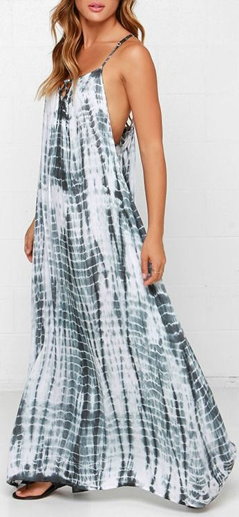 Lunar Lattice Grey Tie-Dye Maxi Dress