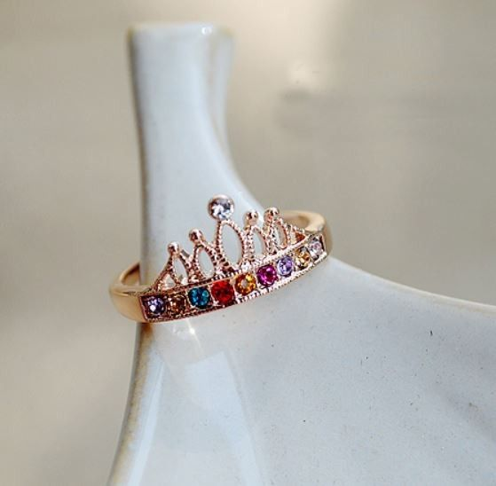 Multicolor Rhinestone Crown Ring, $10.99