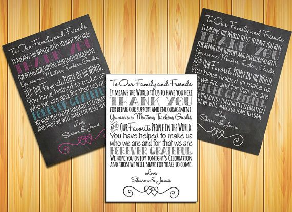 Personalized Digital Download Printable WEDDING Reception Table Setting THANK YOU Card or Sign/Poster, Wedding Welcome Letter, Digital File