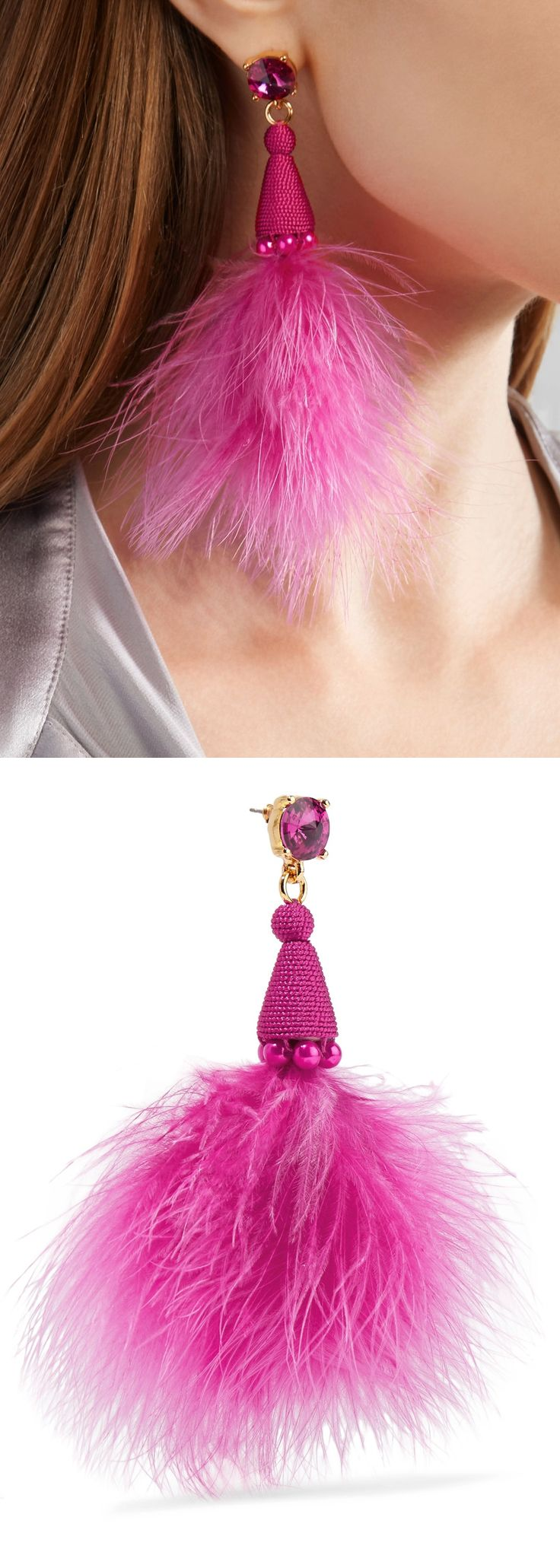 Feather, crystal and bead earrings in hot fuchsia pink. Stork feathers Hang from a sparkling crystal stud, braided cone and beads, all in a bold fuchsia hue. They're trimmed with fluffy feathers that just graze your shoulders. Sweep you hair back to keep them in focus. Tassel earring, on trend aw17 party fashion. #valentinesday #christmaspresents #giftsforher #tassels #tasselearrings #underthetree #valentinesgifts #affiliatelink #jewelery #fashion #ontrend #fashionista