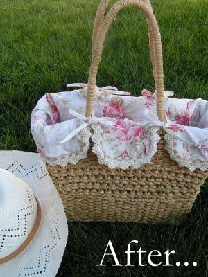 Liner for wicker bag - pretty.Beautiful Basket liners. #Basket liner #Liner #Basket #wicker basket