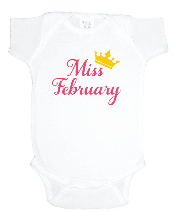 Miss February baby girl bodysuit, princess one piece by MashDesignsOnline, $15.00