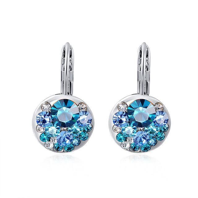 Glitzee High Quality Blue Round Stone Earrings Fashion Jewelry Best Gift For Woman For Party Wedding Gift Silver Earrings brinco
