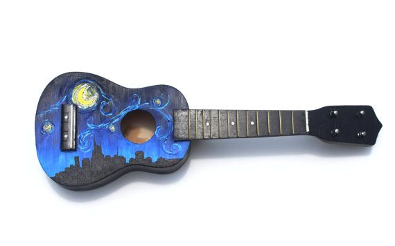 Painted Ukelele--Original Artwork on Musical Instrument-- Nashville Starry Night Skyline. Love this Starry Night Ukelele! For sale on Etsy
