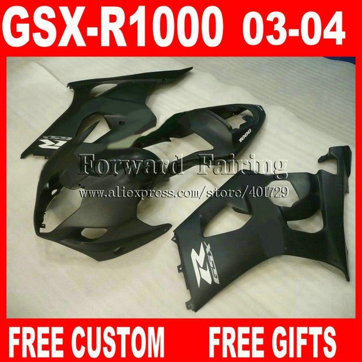 (335.80$)  Buy here  - Hot sale Fairings for 2003 2004 SUZUKI GSXR 1000 fairing set GSXR1000 K3 autobike 03 04 GSX-R1000 all flat black 7 gifts UK923