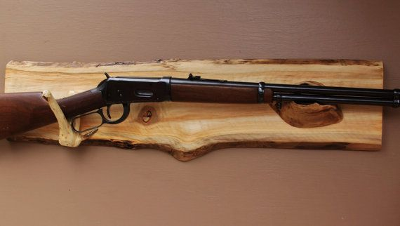 Long Gun Display Rack- A-77 Aspen Backing with pine rests .  Fits Lever action and muzzle-loader rifles. Wall mount.