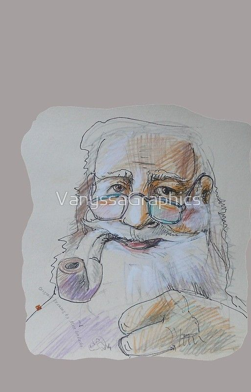 Santa Claus with Pipe (Original Hand Drawing by Alice Iordache)