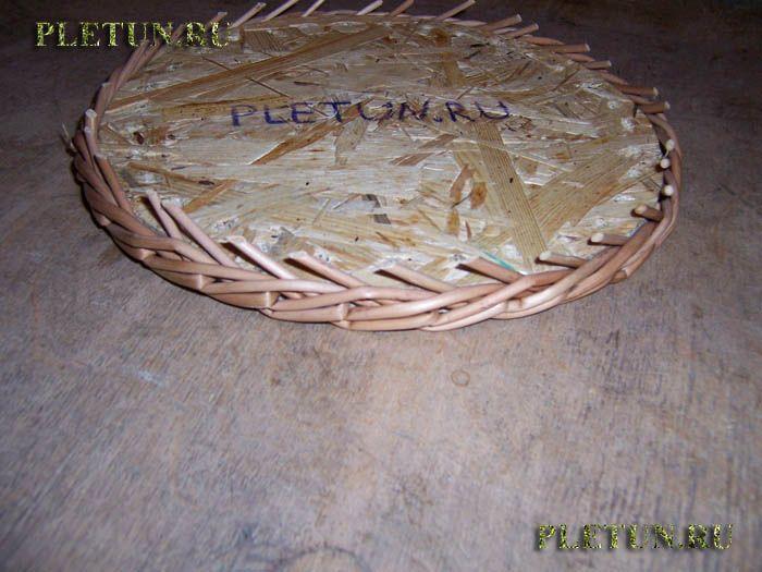Плетение из лозы кормушки | Загибка в три пары прутьев